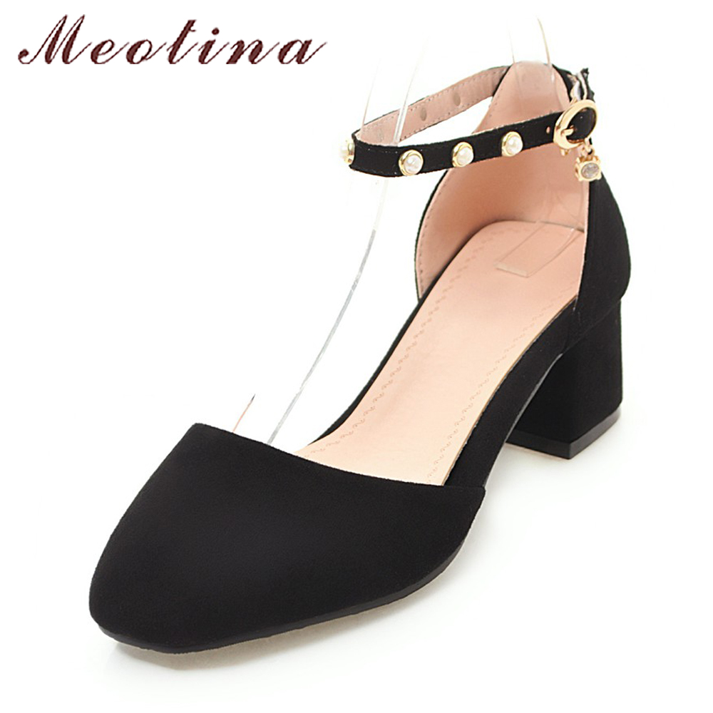 Meotina Ankle Strap Shoes 2018 Spring Women Pumps D-Orsay Thick High Heels Casual Shoes Ladies Black Pearls Strap Buckle Shoes унитаз подвесной ifo special rp731100100