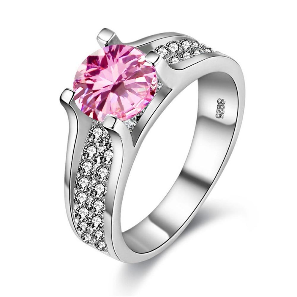 Uloveido Damesringen met Roze Steen Ringen voor Dames Grote Zirkonia - Mode-sieraden