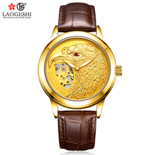 LAOGESHI Eagle Business Golden Hollow Mechanical Watch Mens Stainless Steel Leather Strap Fashion Waterproof Top Brand Luxury