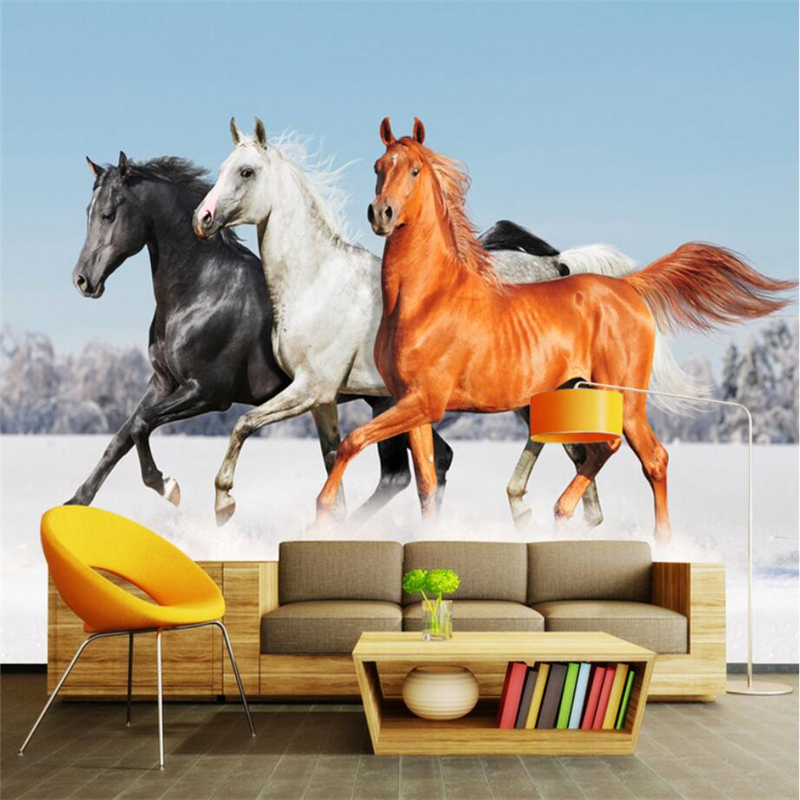 beibehang Custom 3D wallpaper running horse TV background living room bedroom wall home decoration wallpaper 3d horse rushing window living room decoration wall stickers
