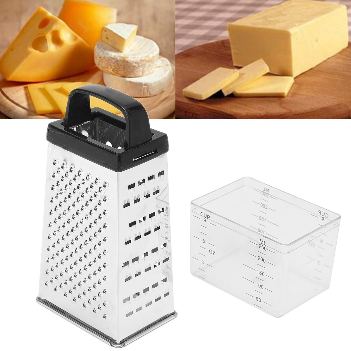 Black White Random 4 Sided Blades Cheese Vegetables Grater Carrot Cucumber Slicer Cutter Box Container Kitchenware Stainless in Cheese Graters from Home Garden
