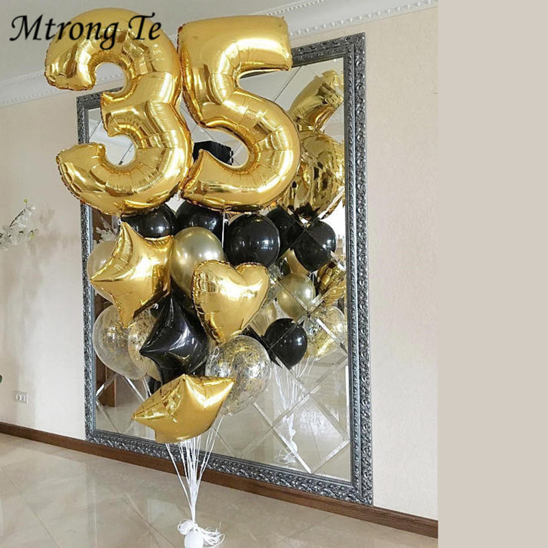 16pcs/lot 40inch 20 30 35 40Year Old Gold Number Balloons 18'' Star&Heart Confetti Balloon Happy Birthday Party Decor Supplies