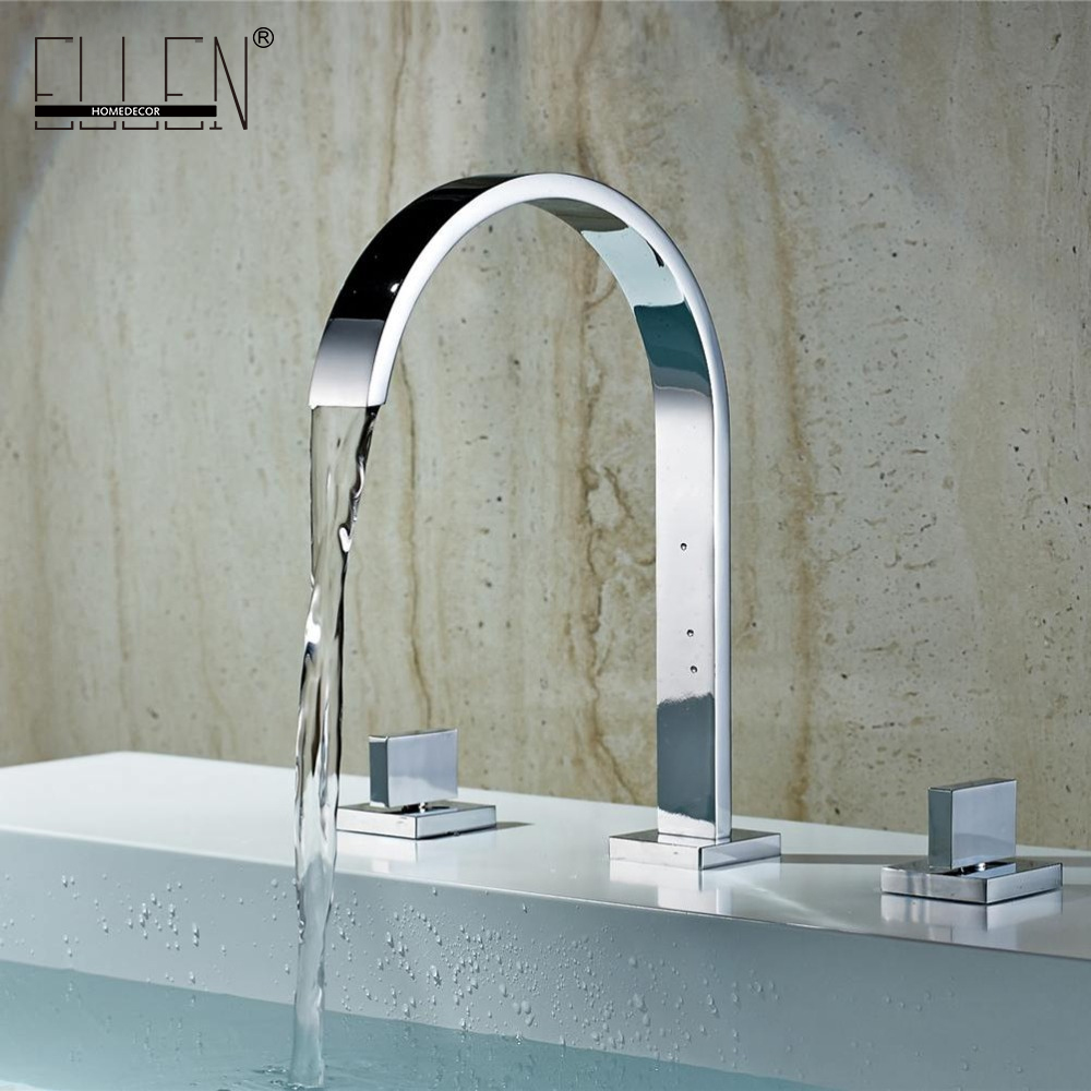 Deck Mounted Double Handle Bathroom Sink Mixer Crane Hot and Cold Water Taps 3 Pieces Square Bathroom Faucets 3 hole EL5109
