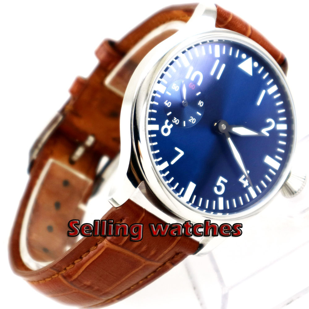 Free Shipping 44mm classic blue dial parnis luminous makrs asia 6497 movement Mechanical Watches hand winding mens watch-in Mechanical Watches from Watches    2