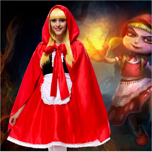 New Arrival Little Red Riding Hood Cosplay Clothing Halloween Stage Costumes Little Red Riding Hood Cosplay Dress for kid/adult