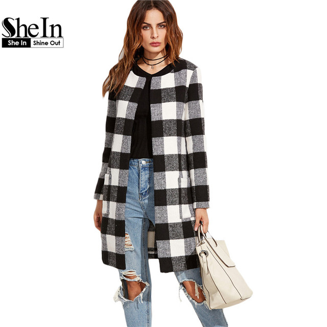 d4e0a76e53 SheIn Winter Long Coats For Ladies Vintage Outerwear Women Black And White  Checkered Collarless Long Sleeve