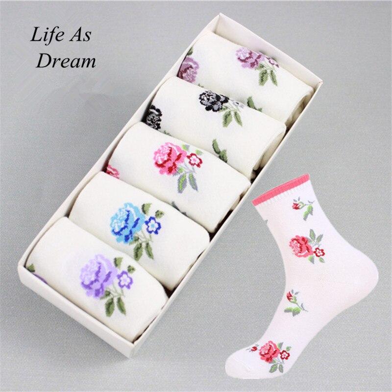 5 Pair Women Socks Rose Print Socks Autumn Winter Style Christmas Winter Socks For Woman Female Funny Sock Calcetines Meias