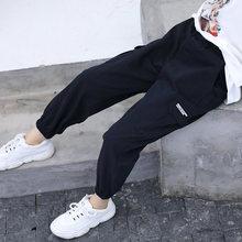Kids Girls Cargo Pants 2019 Autumn Children Girl Trousers Fashion Cotton Pencil Black Pink Khaki Teen 5-13T