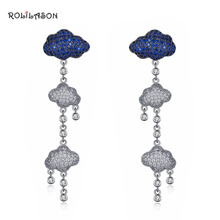 Cloud-shaped 925 sterling silver blue and white zircon earrings fashion trend SE29
