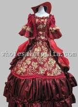 17 18th Century Baroque Rococo Dark Red Marie Antoinette Period Dress Halloween Costume