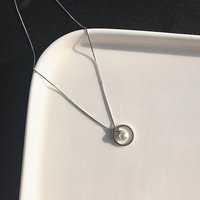 1.1cm short chain simple woman natural pure 925 Silver Pendant freshwater pearl round necklace jewelry girlfriend gift with box