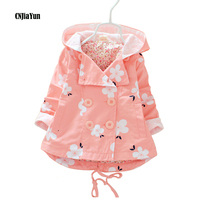 New Style Girls Coat Spring Autumn Hooded Girls Windbreaker Baby Girls Jacket Kids Trench Coat Floral