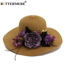 ef90e536 BUTTERMERE Flower Wide Brim Sun Hat For Beach Women Straw Hat Khaki  Beautiful 2019 Summer Elegant Ladies Church Hats