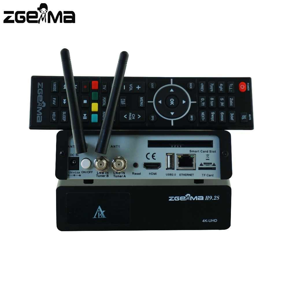 2pcs/lot ZGEMMA H9 2S 4K UHD TV Box Linux OS E2 H 265/HEVC QT Stalker  Multistream DVB-S2X+S2X Twin Tuner With Built-in WiFi