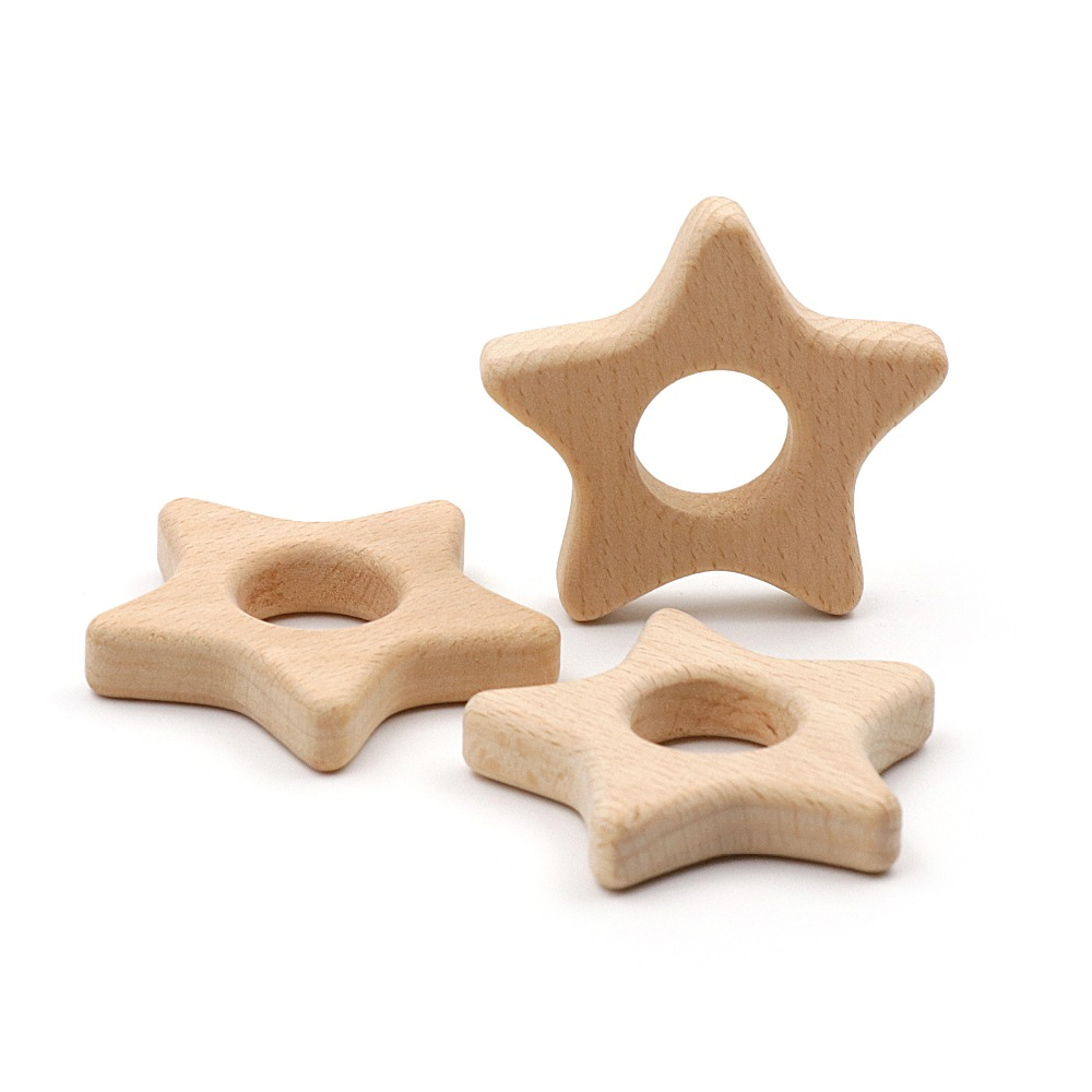 JOJOCHEW 2pcs Beech Wood Teether Star Food Grade Wooden Teether Charms For Teething Necklace Natural Wood Made