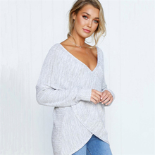 2019 New Women's Autumn Criss Cross Sweater Loose V-Neck Female Pullover Fashion knitted Sweater Long Sleeve Casual Clothes criss cross front sweater