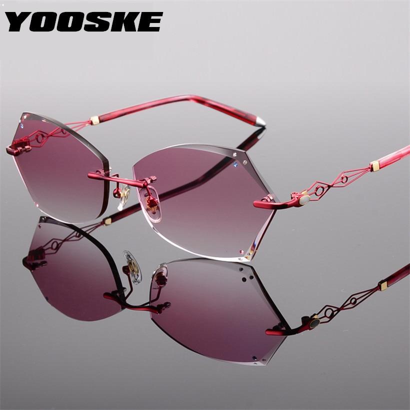 Gläser Legierung Red Gradienten Rahmen Sonnenbrille Frauen Für Objektiv pink Titan purple Designer Schneiden Diamant Marke Yooske Randlose 67POxp