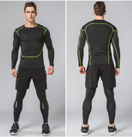 HAMEK Brand Men Sports Suits 3pcs Quick Dry Running Set Compression Tights Underwear Basketball Fitness Training Suit Reflective