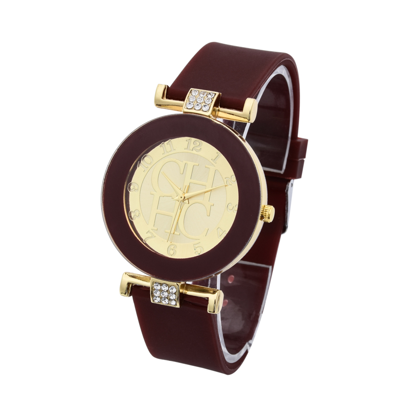Hot sale Fashion Brand Gold Geneva sport Quartz Watch Women dress casual Crystal Silicone Watches montre homme relojes hombre 3