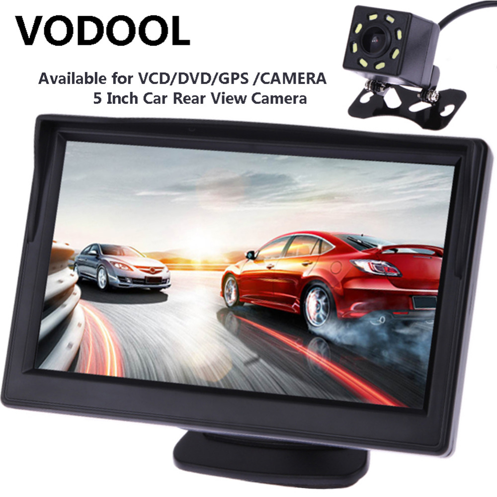 VODOOL 5inch TFT LCD Car Rear View Display Waterproof Night Vision Reversing Backup
