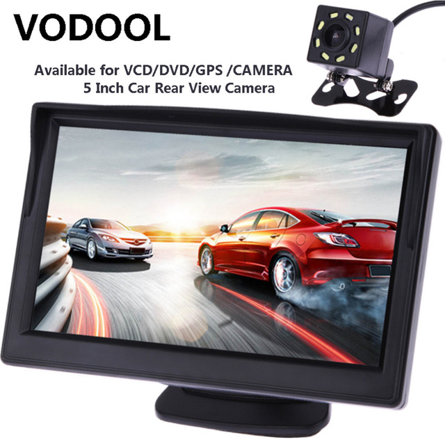 VODOOL 5inch TFT LCD Car Rear View Display Monitor Waterproof Night Vision Reversing Backup Rearview Camera Quality Car Monitors