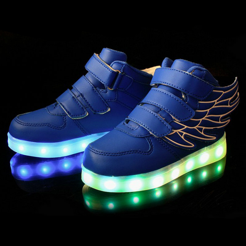 2017 New USB Charging Basket Led Children Shoes With Light Up Kids Casual Boys&Girls Luminous Glowing Sneakers Shoe enfant