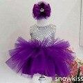 2017 Bling Блесток Фиолетовый цветок девочки платья На День Рождения ребенка Платье малыша девушки конкурс красоты платья для детей бальные платья