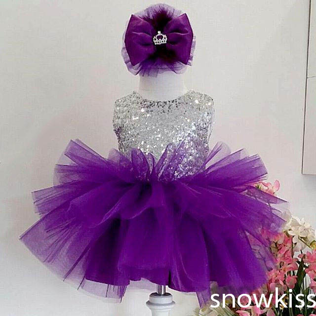 2017 Bling Sequin Purple flower girl dresses baby Birthday Party Dress toddler girl beauty pageant dresses for kids ball gowns 15 color infant girl dress baby girl pageant dress girl party dresses flower girl dresses girl prom dress 1t 6t g081 4