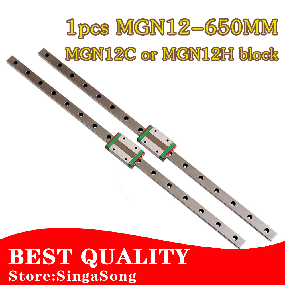 12mm for Linear Guide MGN12 650mm L= 650mm linear rail way + MGN12C or MGN12H Long linear carriage for CNC X Y Z Axis 15mm linear guide mgn15 l 650mm linear rail way mgn15c or mgn15h long linear carriage for cnc x y z axis