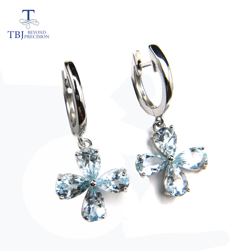 TBJ Natural 3ct up Brazil blue aquamarine simple clasp earring in 925 sterling silver for girls