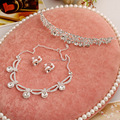 Wedding Jewelry Sets bridal headdress alloy crystal bridal jewelry three-piece suit wedding hair accessories maxi necklace