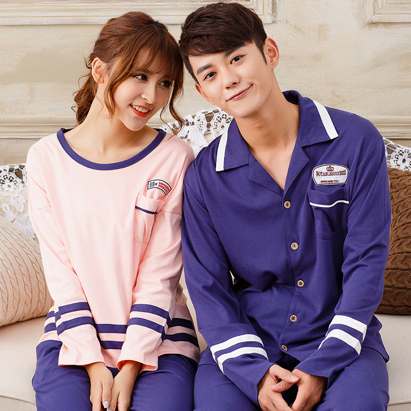 e43f3614bf Couple Ppajamas Set 100% Cotton Pajamas Plaid Pajamas Spring And Autumn Men  Or Women Long Sleeve Sleepwear Lover Night Suits-in Pajama Sets from  Underwear ...