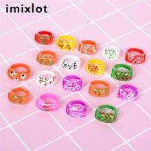 Imixlot – bagues en plastique pour enfants, 20 pièces/lot, vente en gros, couleurs mixtes, bijoux de doigts en argile, cadeau, livraison aléatoire