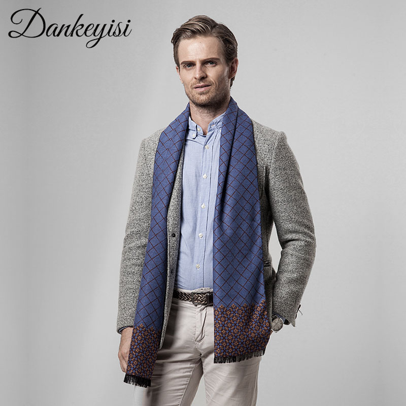 DANKEYISI Scarf Men Business Luxury Brand Plaid Cashmere Scarves Shawl Male Foulard Wool Hijab Bandana Autumn Scarves For Men