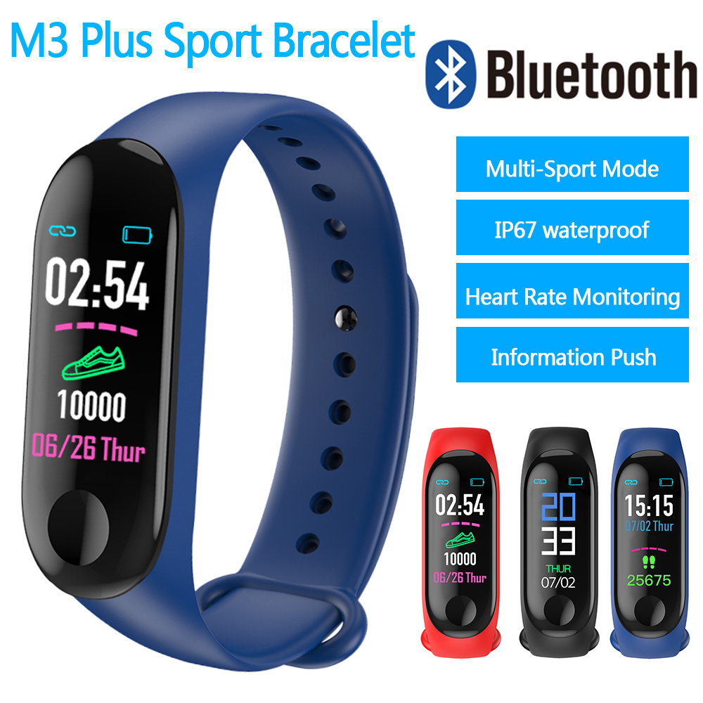 Image 3 - 2019 M3 plus Smart Bracelet Fitness Pedometer Watch Running Tracker Blood Pressure Heart Rate Monitor Sports Pedometer Band-in Pedometers from Sports & Entertainment