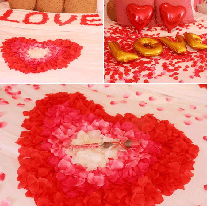 2000pcs/lot Wedding Party Accessories Artificial Flower Rose Petal Fake Petals Marriage Decoration For Valentine supplies