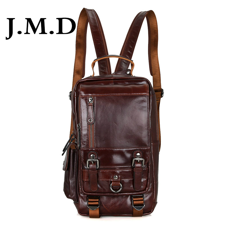 J.M.D Tanned Leather Mens Multifunction Backpack For Student School Girls Backpacks Travel Bag 2002C