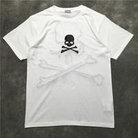 New High luxury Men Fashion T Shirts Embroidered skull bone Casual T Shirt Hip Hop Skateboard Street Cotton T Shirts Tee Top #Z7