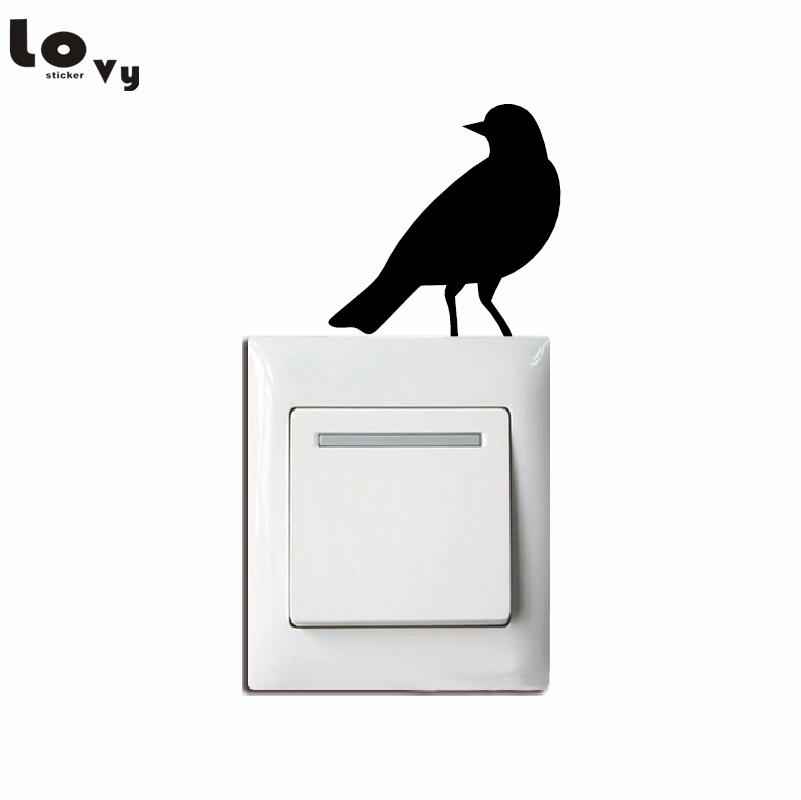 Us 0 49 19 Off Natural Style Cute Little Bird Silhouette Switch Sticker Cartoon Bird Vinyl Wall Stickers For Kids Room Home Decor 005 In Wall