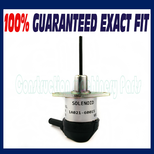 New Fuel Solenoid Valve 1A021-60015, 1A021-60016, 1A021-60017 For Kubota V2003 V2203 V2403 Tractor Mower shut off 3924450 2001es 12 fuel shutdown solenoid valve for cummins hitachi