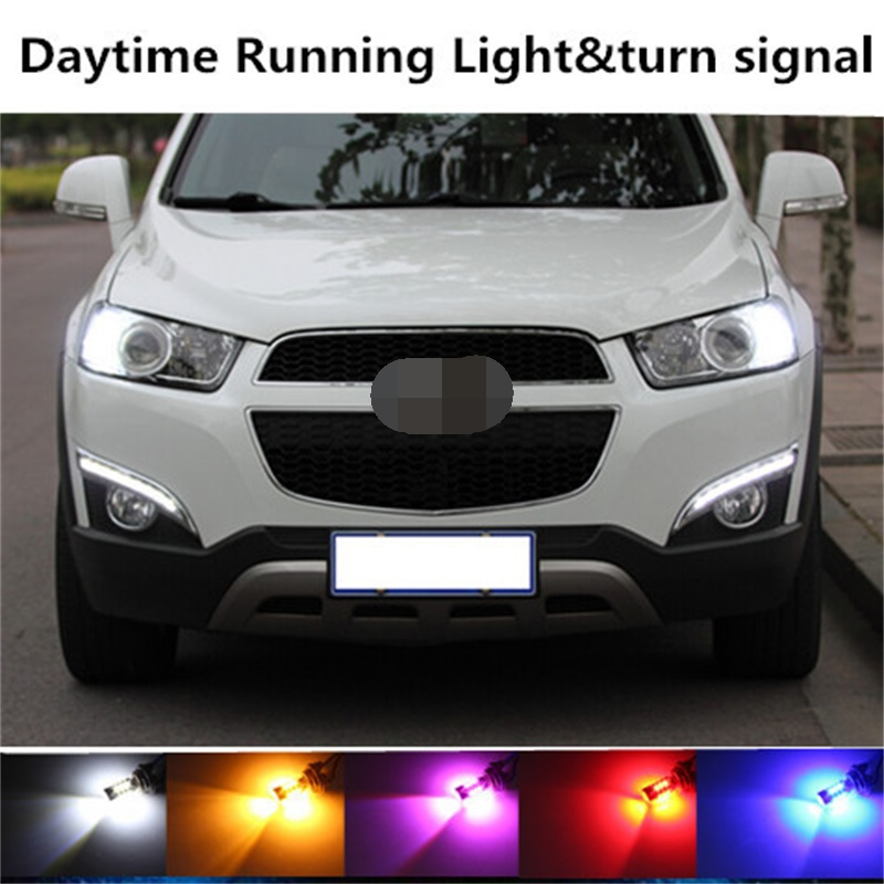 Tcart 2pcs Car LED DRL Daytime Running Light Turn Signals all in one PY21W BAU15S 1156 Auto LED Bulbs For Chevrolet Captiva 2015 2pcs bau15s py21w cob car led daytime running light turn signal light yellow amber bulb backup light