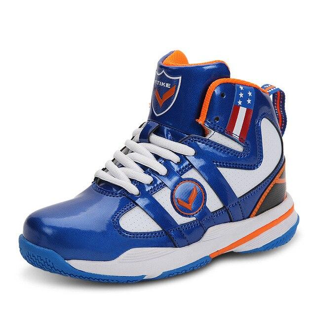 € 40.53 |CSXD Muchachos Azules Zapatos de Baloncesto de Cuero Niñas Antideslizante Rojo deporte Zapatos de Los Niños Del Top Del Alto Botines Niños