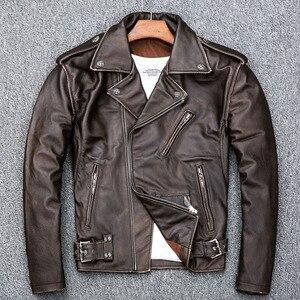 Image 3 - MAPLESTEED Brown Distressed Giacca Moto Da Uomo 100% Pelle di Vitello Classico Sottile Giacca di Pelle Uomo Moto Biker Cappotto di Inverno 5XL M190