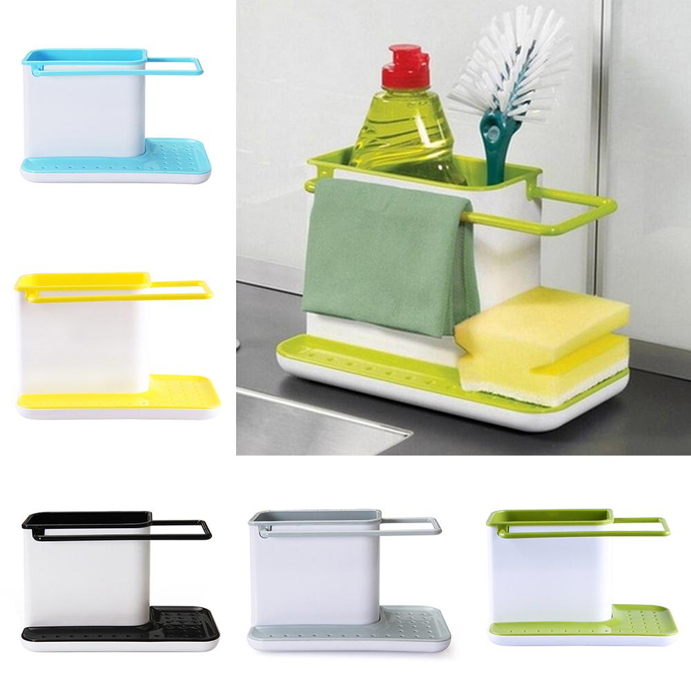 Kitchen Cleaning Tool Storage Bucket Draining Sink Sponge Brush Dishcloth Organizer Racks Stand