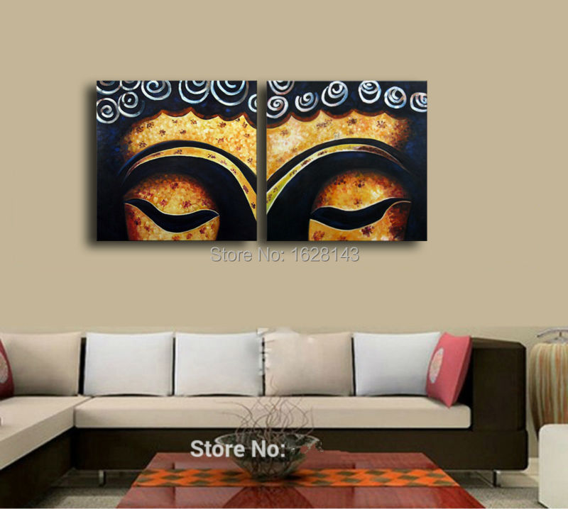 Superior Handmade Buddha Painting Modern Canvas Wall Pictures Bouddha 2 Pieces  Decoration Oil Art Set On Living Room Wall 2pn6 In Painting U0026 Calligraphy  From Home ...