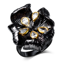 Brand New Style Womens Ring Black Gold Plated Big Flower Female Ring With CZ Stone Noble