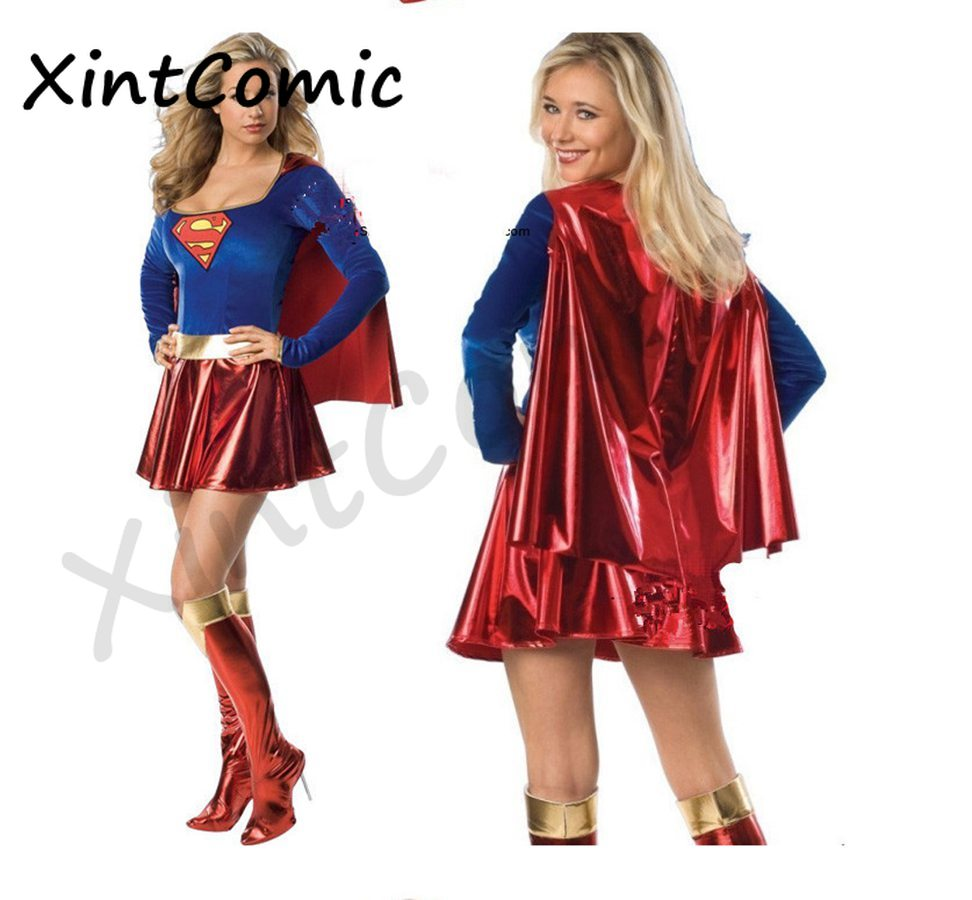 Adult Sexy Fancy Dress Supergirl Cosplay Costume Woman Superhero Female Superman Girls Party Gown Clothing