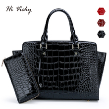 2 Sets New Famous Designer Brand Luxury Women Patent Leather Handbags Fashion Tote Quality Trapeze Purse Clutches Bolsa Feminina famous brand designer 2017 luxury women pu leather trapeze tote bag composite crossbody handbags high quality
