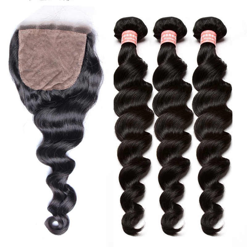 Human Hair Bundles With Silk Base Closure 4Pcs Brazilian Human Hair Weave Bundles With Closures Honey Queen Hair Products Remy