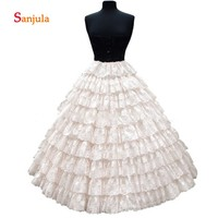 6 Hoops 9 Layers Lace Puffy Ball Gown Petticoat for Women Tiered Lace Wedding Accessories Ivory Crinoline sottoveste donna